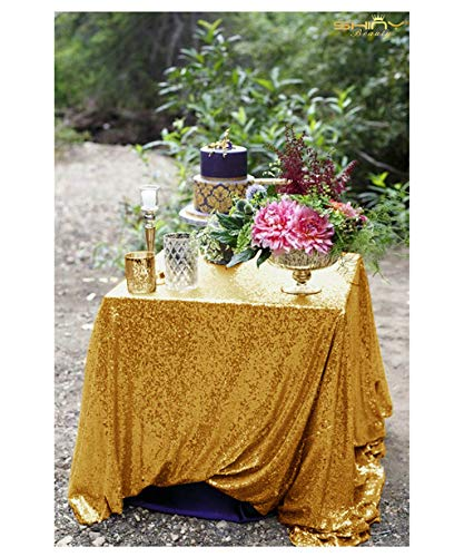 48x48-Inch Square-Sequin Tablecloth-Gold, 2019 Sequin Table Cloth/Overlay/Cover Glitz Table Linen -