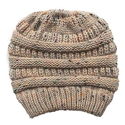 York Zhu Beanie Hat- Women's Beanie Ponytail Messy BeanieTail Ribbed Hat Multi Color