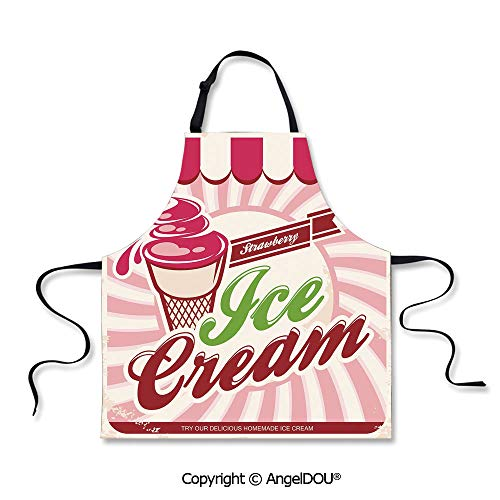 SCOXIXI Durable Polyester Waterproof Apron Retro Strawberry Ice Cream Logo in Soft Tones Homemade Pop Art Decorative Cooking Home Cleaning Tools. -