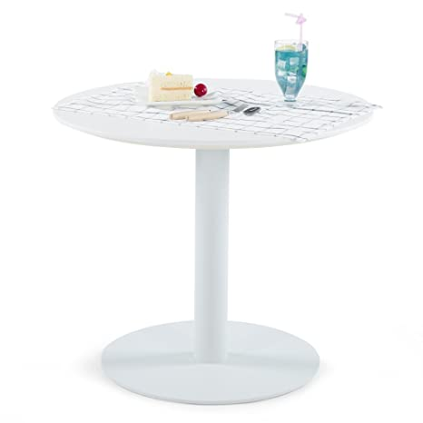 Sunon Round Cafe Table, Small White Pedestal Table for  Pub/Conference/Living Room (27.5 x 23.6 inch Height, Moon White)