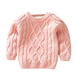Goodkids Baby Boys Girls Winter Thicken Long Sleeve Cardigans R-Neck Solid Sweaters Cable Knitted Stripe Coats Outwear (70-80cm, Pink)