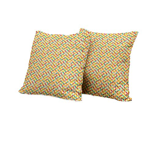 Set of 2 Beige,Vintage Colorful Flower of Life Pattern Retro Arrangement Circular Oriental Motifs,Multicolor Decorative Pillow Covers 14x14 INCH 2pcs ()