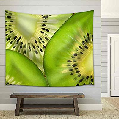 Made With Top Quality, Marvelous Technique, Slices of Ripe Kiwi Fruit (Close Up Transparent) Fabric Wall