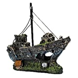LIAMTU Resin Fishing Shipwreck Boat Aquarium Ornament Plastic Decoration Plant for Fish Tank Accessories