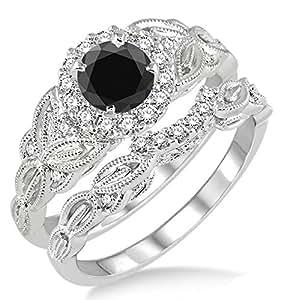 Amazon.com: 1.25 Carat Black Diamond Vintage floral Bridal