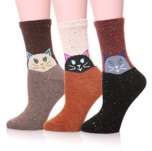 EBMORE Women Cute Animal Design Fashion Casual Soft Wool Cotton Socks - 3 Pack (Cat), (US 6-10)