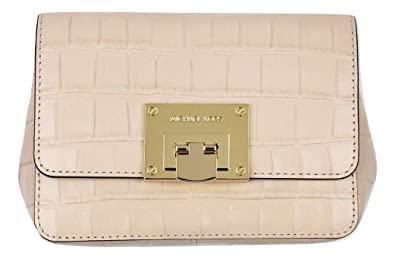 3487ed73a95f Michael Kors Tina Small Embossed Leather Clutch, Crossbody Shoulder Bag,  Ballet