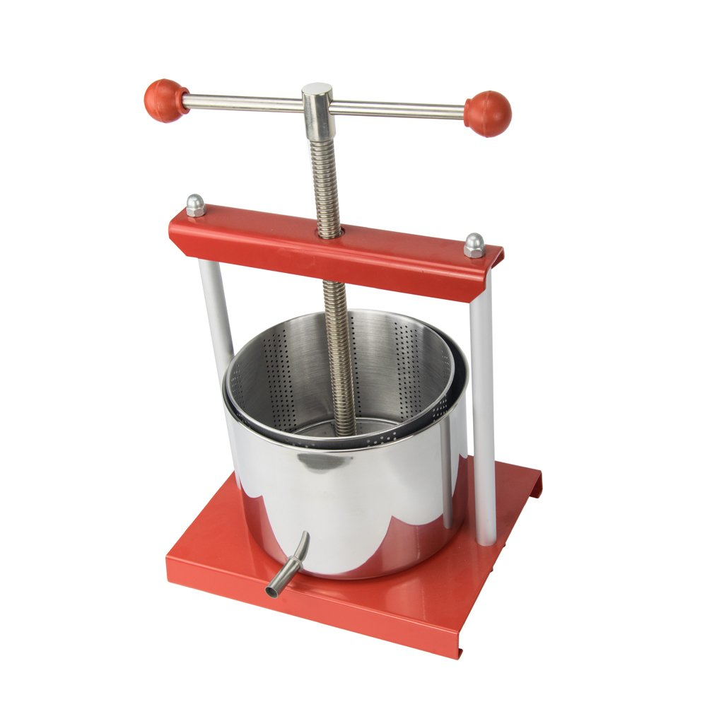 EJWOX 0.53 Gallon Stainless Steel Soft Fruit Wine Juice Press Cheese Making Press Tincture Press Herbal Press
