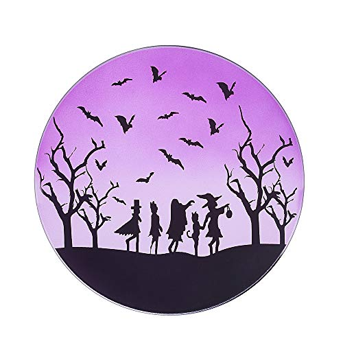 Pavilion Gift Company Purple Halloween Themed Glass 22 oz Rounded Jar, 7.25 Inch Candle ()