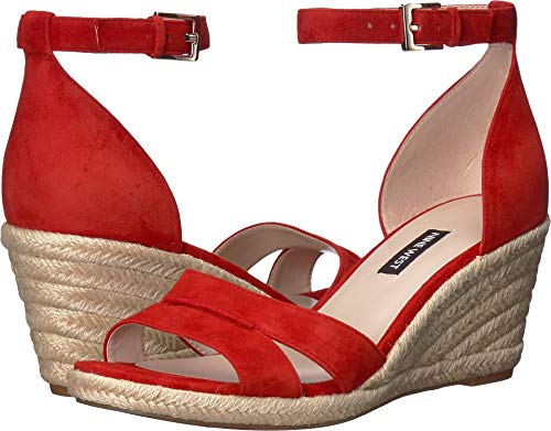(Nine West Womens Jabrina Espadrille Wedge Sandal Fiery Red 9.5 M)
