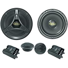"""Lanzar Upgraded 6.5"""" 2 Way Coaxial Speaker Component System Kit - 200 Watt Peak 55 – 20 kHz Frequency Response 4 Ohm and One Pair Tweeter w/ Passive Crossover Network and 3 Mounting Options - DCT6KT"""