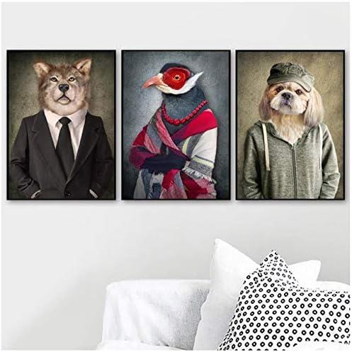 Zhaoyangeng ファッション動物壁アートキャンバス絵画北欧ポスターとプリント壁写真用リビングルーム家の装飾-40×60センチ×3フレームなし
