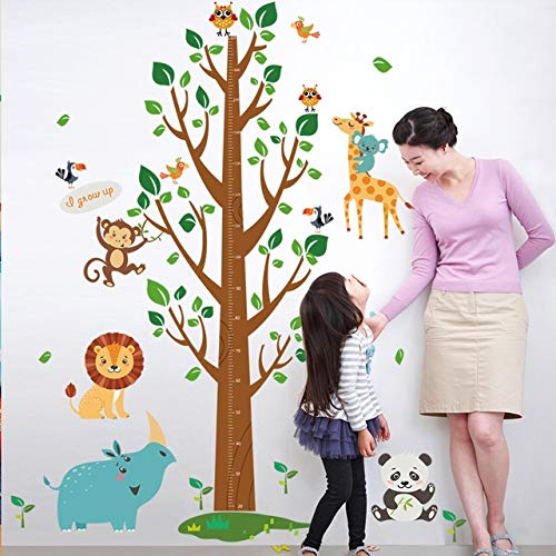 175x110cm,Wall Stickers,Wall Tattoo Art,Cartoon Animal Tree Grow Height Measuring Ruler Kindergarten Nursery Kids Room Birthday Wallpaper Background Art Decal Home Kitchen Romantic Bedroom Sticker