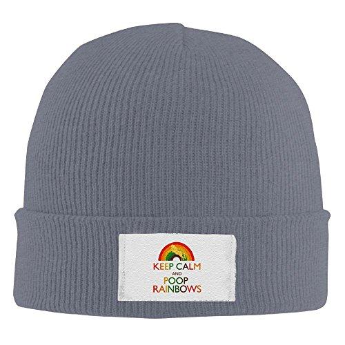 (Keep Calm And Poop Rainbows Unicorn Elastic Rib Knit Beanie Hats Asphalt)
