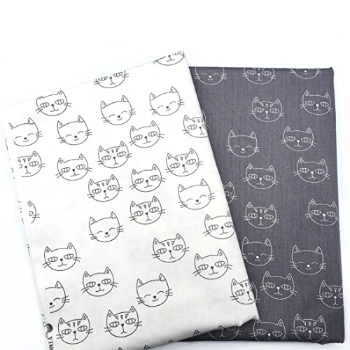 n 2 Pc/Set Small Cat Pattern Vintage Styles Cotton Fabric Cloth For DIY Crafts Sewing By 50cmx40cm ()