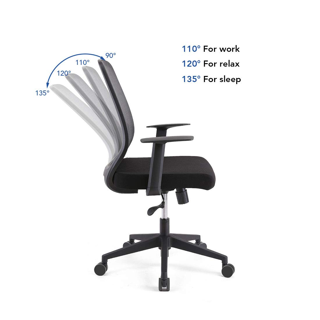 FlexiSpot OC1B Ergonomics Executive Office Chair Swivel Height Adjustable Seat Armrest on Caster Wheels, Black