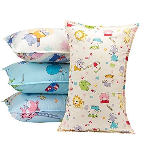 "Biubee 4 packs ( 14""X 21"") Toddler Pillowcases - Fits Pillows Sized 12x16, 13x18 or 14x19, Natural Organic Cotton Pillow Cover Envelop Style for Baby, Infant and Kids by Biubee"
