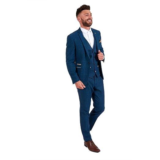 f74dca07 Classic 3 Pieces Vintage Blue Tweed Herringbone Wool Tailored Men Suits
