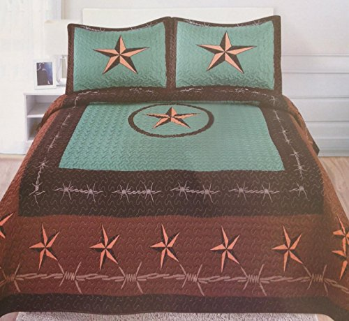 Get Western Star Barbed Wire Queen Size Quilt And Shams
