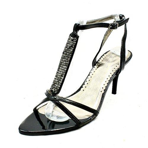 tachuelas negro zapatos del partido de la correa del tobillo t-bar / sandalias Black