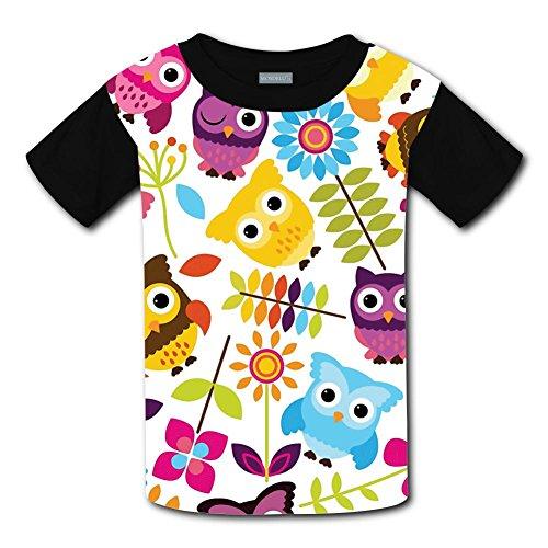 Qck Cloth - Yangjio Tshirt Colorful Owl 3D Print Xs Short Sleeve For Children