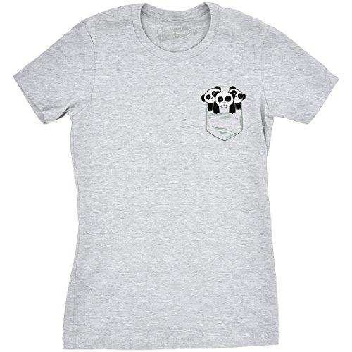 Crazy Dog TShirts Womens Pocket Pandas Funny T shirts Printed Graphic Humor  Cool Panda Novelty T shirt Grey M damen M