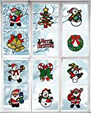 ZJC11 Christmas Decal Window Wall Clings Sticker - Holiday Decorations - Santa Claus, Snowman,Tree - 12 Pieces