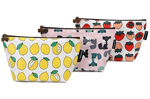(Sea Team 3pcs Waterproof Fabric Cosmetic Bags Portable Travel Toiletry Pouch Makeup Organizer Clutch Bag with Zipper (ST-CB0622A))