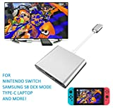 OnForward HDMI Type C Hub Adapter for Nintendo Switch, Samsung Galaxy S8/S8P, MacBook Series. High Speed USB 3.0 HDMI Converter Cable for Nintendo Switch (Silvery)