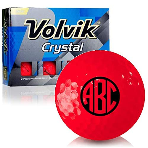 (Volvik Crystal Ruby Red Monogram Personalized Golf Balls)