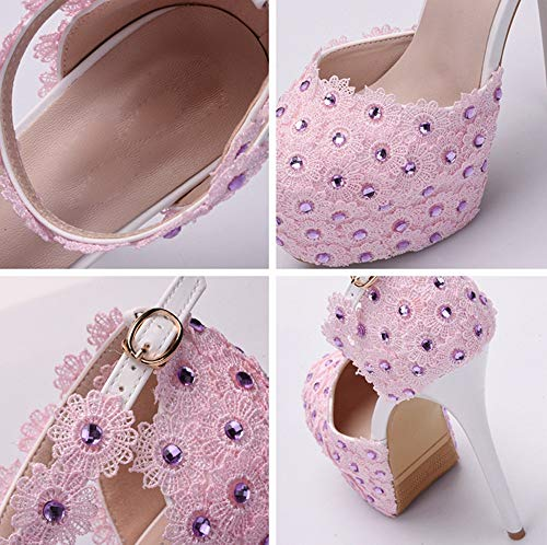 sandals seven wedding high Thirty heel shoes fashion Flowers shoes lace drill fine super LBTSQ temperament heel bride Hq6w4SR