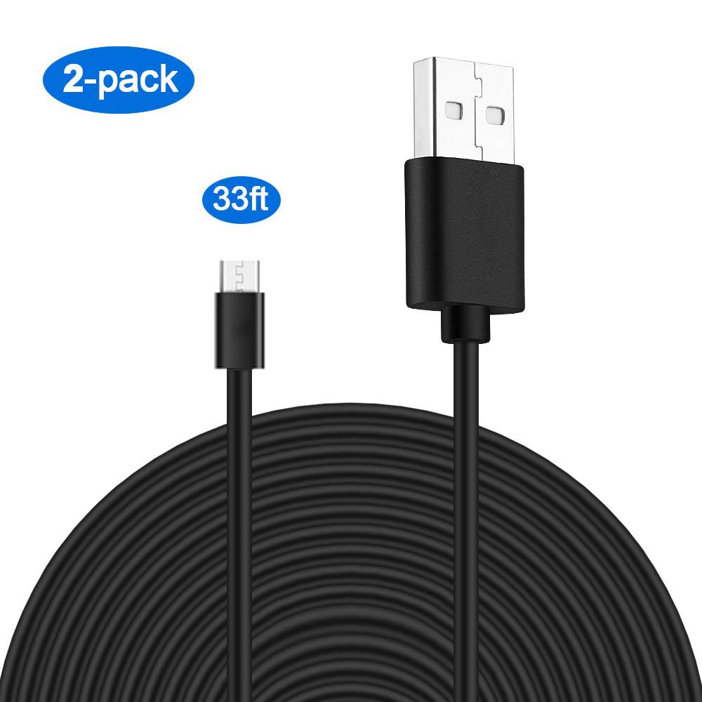 MOYEEL 2-Pack 33Ft Micro USB Power Extension Cable for Wyze Cam/Wyze Cam Pan, Blink XT Cam and Quick Charge Power for Home Security Camera(Black) by Moyeel