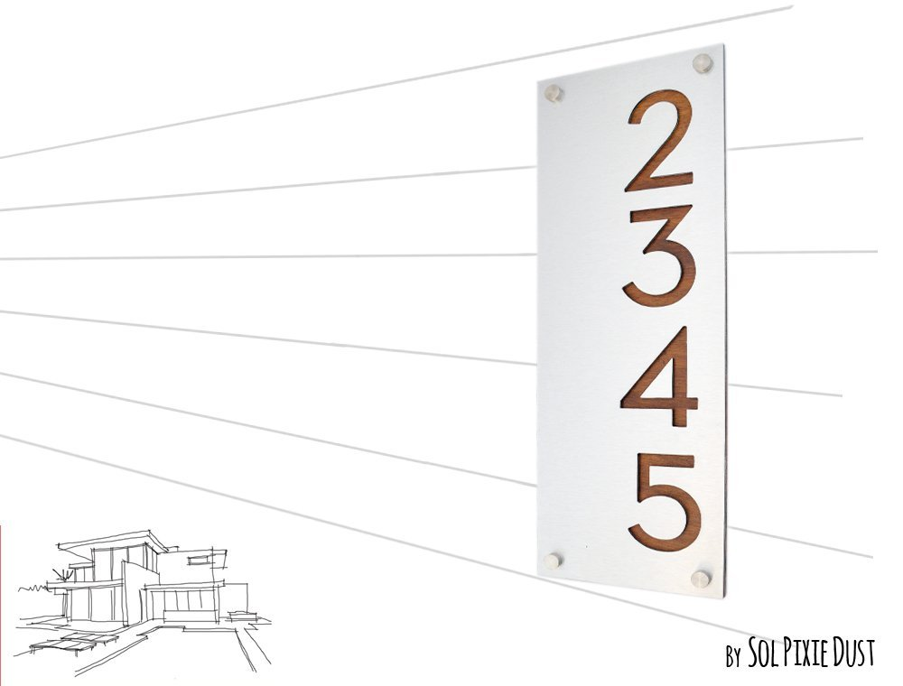Plaque Sign Modern House Numbers Vertical Black Acrylic with Natural Wood