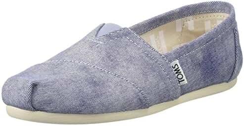 Toms Women's 10009727 Slate Blue Washed Twill Alpargata Flat, Slate Blue, 7 M US