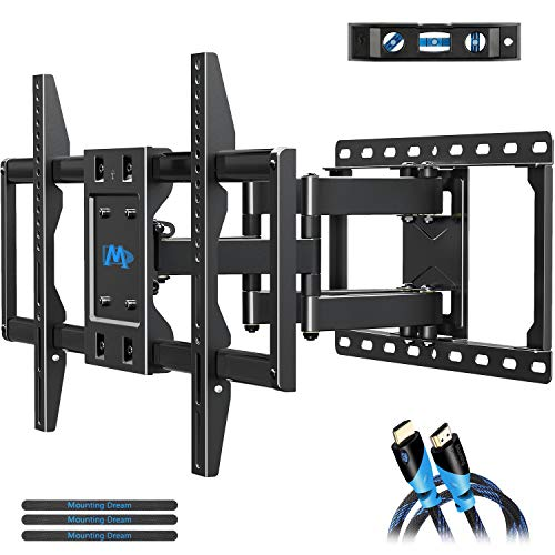 Mounting Dream TV Mount Bracket for 42-70 Inch Flat Screen TVs, Full Motion TV Wall Mounts with Swivel Articulating Dual Arms , Heavy Duty Design - Max VESA 600x400mm , 100 LBS Loading , MD2296 (Slim Tv Mounts For Flat Screens)