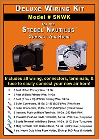 Deluxe Wiring Kit for Stebel Nautilus Compact Air Horns, Air