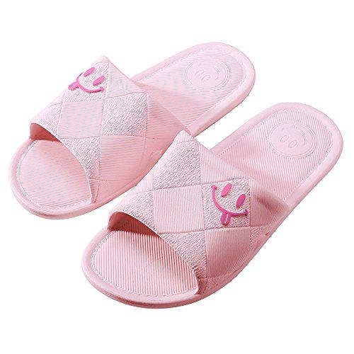 WILLIAM & KATE bunte Hausschuhe Für Frauen Im Sommer Casual Anti-Slip Hausschuhe Innenboden Slipper Sandale Bad Slipper Hell-Pink