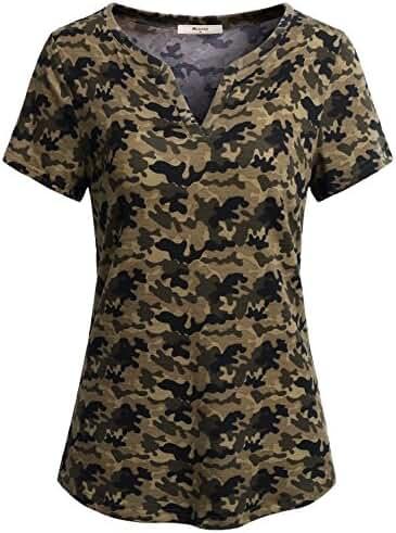 Miusey Womens Short Sleeve V Neck Casual Tunic Shirt