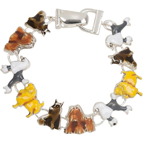 Heirloom Finds Enamel Dog Lover Theme Charm Bracelet Magnetic Clasp Silver (Dog Theme Charm Bracelet)