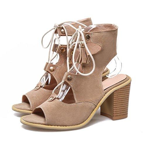 QIN&X Womens Römische Sandalen Fisch Mund Block High Heels Peep Toe Sommer Schuhe Apricot
