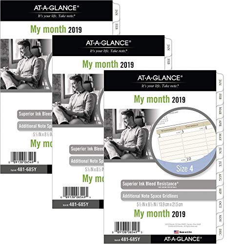 At-A-Glance Day Runner Monthly Planner Refill Pages, January 2019 - December 2019, 5-1/2