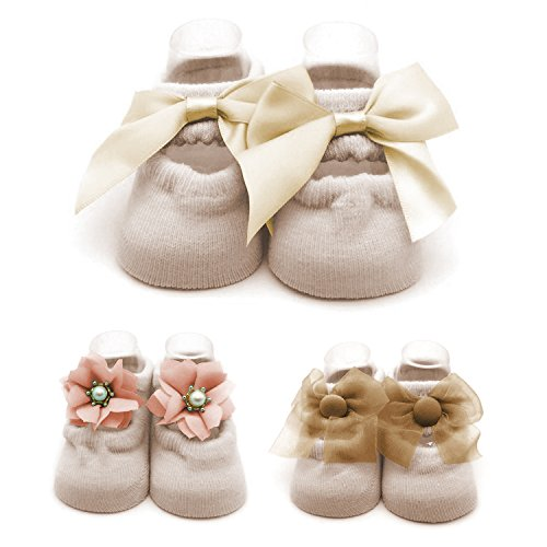 Baby Socks Flowers - Cozy Cotton Flower Pearl Bowknot Lace Jane Socks with Grip for Newborn Infant Baby Girl 6-12 months Leekey 3 Pack