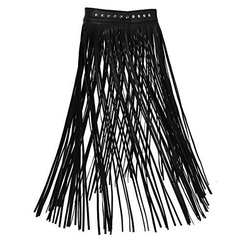 Inhzoy Women's Faux Leather Adjustable Waistband Hippie Boho Long Fringe Gypsy Tassel Skirt