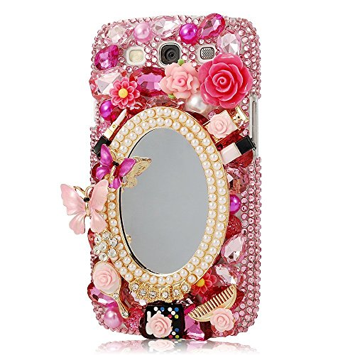 Samsung Galaxy J7 J710 Case, STENES [Luxurious Series] 3D Handmade Shiny Crystal Bling Case with Retro Bowknot Anti Dust Plug – Girls Cosmetic Mirror …