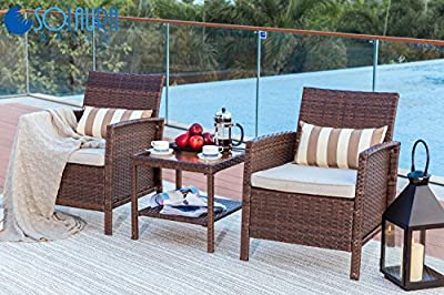 Solaura Outdoor Furniture 3-Piece Bistro Set All Weather Brown Wicker with Light Brown Waterproof Cushions & Classic Gold Stripe Throw Pillows | Patio, Backyard, Pool