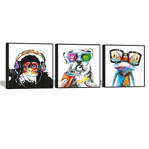 Animals Canvas Wall Art,Modern Gorilla Monkey Music Canvas Prints Wall Painting Picture Print Happy Dog Frog Canvas Painting Home Decor Animal Prints (24