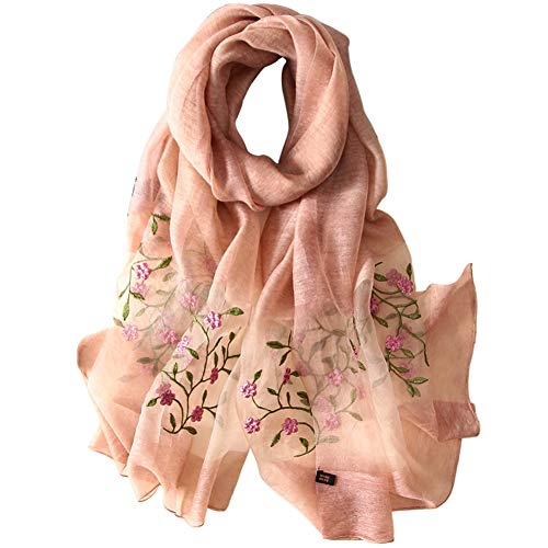 (Alysee Women Soft Warm Silk&Wool Mixed Embroidered Scarf Shawl Headwrap Orange Pink)