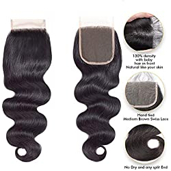 Brazilian Virgin Hair,FDX Lace Closure Human Hair 8A Body Wave Closure 100% Unprocessed Human Hair which Can be Straightened,Curled,Bleached and Dyed 8 inches 4x4 Lace Closure Natural Color.