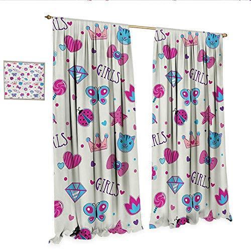 Teen Girls Waterproof Window Curtain Pattern with Funny Doodle Elements Bowtie Ladybird Diamond Figures and Kitty Waterproof Window Curtain W96 x L84 Fuchsia Blue.jpg