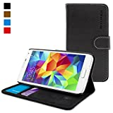 Galaxy S5 Case, Snugg™ - Leather Wallet Case with Lifetime Guarantee (Black) Protective Folio for Samsung Galaxy S5